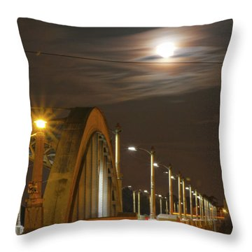 Night Shot Of The Los Angeles 6th Street Bridge And Supermoon #4 Throw Pillow