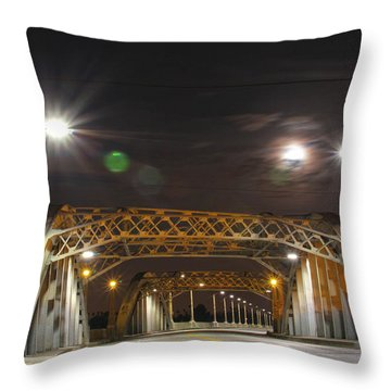 Night Shot Of The Los Angeles 6th Street Bridge And Supermoon #5 Throw Pillow