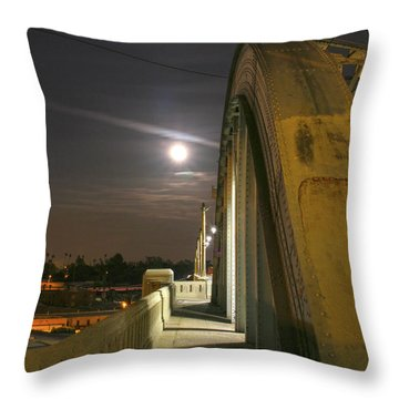 Night Shot Of The Los Angeles 6th Street Bridge And Supermoon #6 Throw Pillow