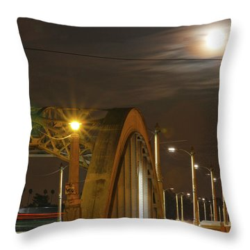 Night Shot Of The Los Angeles 6th Street Bridge And Supermoon #7 Throw Pillow