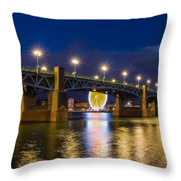 Throw Pillow featuring the photograph Night Shot Of The Pont Saint-pierre by Semmick Photo