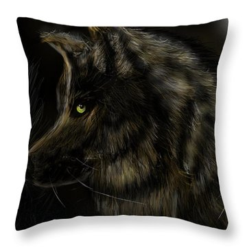 Night Silent Wolf Throw Pillow