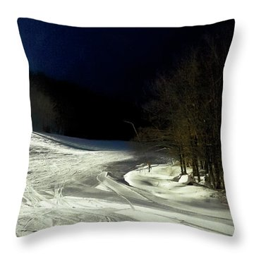 Throw Pillow featuring the photograph Night Skiing At Mccauley Mountain by David Patterson