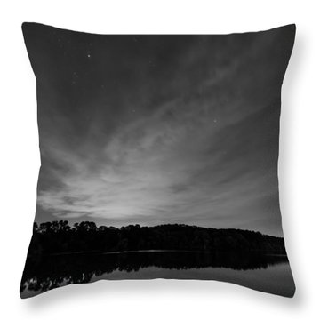 Night Sky Over The Lake In Black And White Throw Pillow