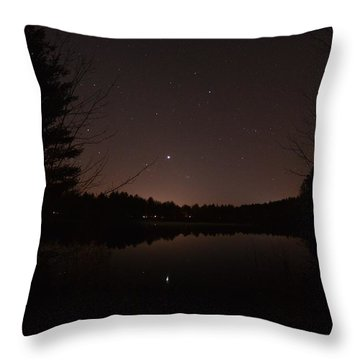 Night Sky Over The Pond Throw Pillow