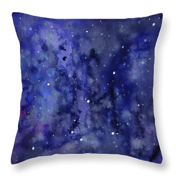 Night Sky Watercolor Galaxy Stars Throw Pillow