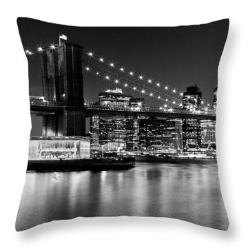 Night Skyline Manhattan Brooklyn Bridge Bw Throw Pillow