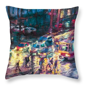 Night Street In Rain Throw Pillow