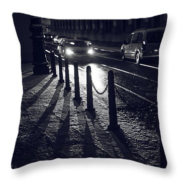 Throw Pillow featuring the photograph Night Street Of Prague by Jenny Rainbow