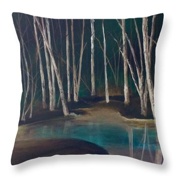 Night Time In The Woods Throw Pillow by Ellen Canfield