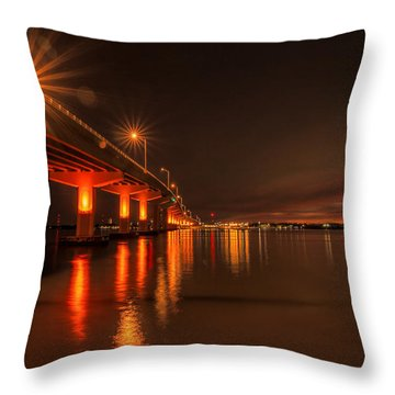 Night Time Reflections At The Bridge Throw Pillow