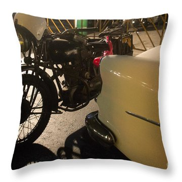 Throw Pillow featuring the photograph Night Time Silhouette Of Vintage Motorcycle Near Tail Of 50's St by Jason Rosette