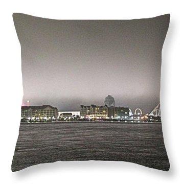 Night View Ocean City Downtown Skyline Throw Pillow