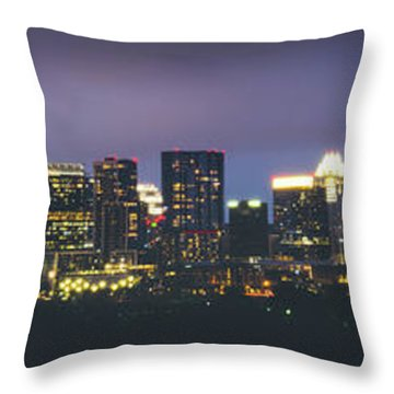 Night View Of Downtown Skyline In Winter Throw Pillow
