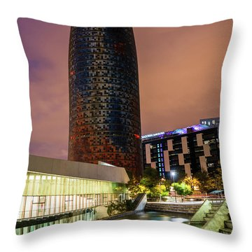 Night View Of Torre Agbar Throw Pillow