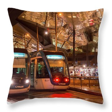 Night View Of Two Trams At Glories Station  Throw Pillow