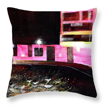 Throw Pillow featuring the painting Night Walk by Anil Nene