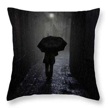 Night Walk In The Rain Throw Pillow