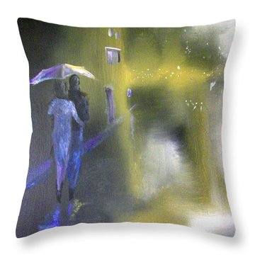 Night Walk In The Rain Throw Pillow by Raymond Doward