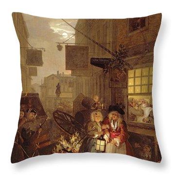 Night Throw Pillow by William Hogarth