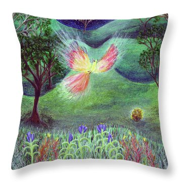 Night With Fire Bird And Sacred Bush Throw Pillow