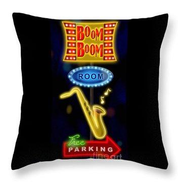 Nightclub Sign Boom Boom Room Throw Pillow