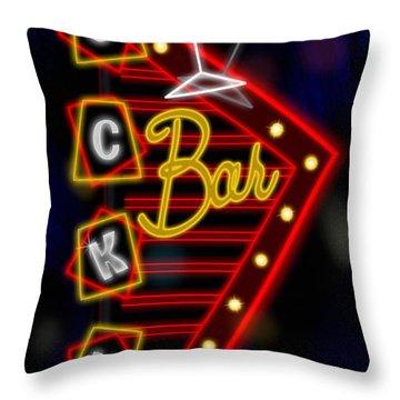 Nightclub Sign Luckys Bar Throw Pillow