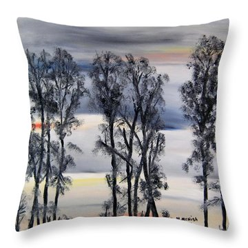 Throw Pillow featuring the painting Nightfall Approaching by Marilyn  McNish