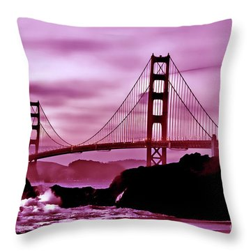 Nightfall At The Golden Gate Throw Pillow