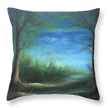 Nightfall In The Boggs  Throw Pillow