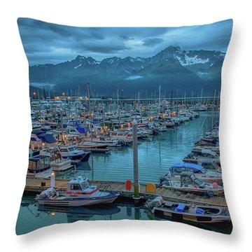 Nightfall On The Harbor Throw Pillow