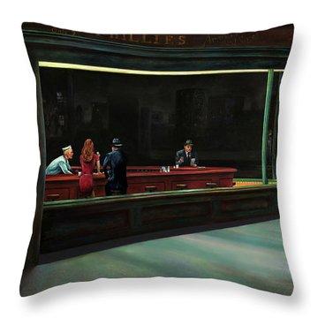 Nighthawks Throw Pillow by Antonio Ortiz