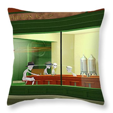 Nighthawks Invasion Throw Pillow by Peter J Sucy