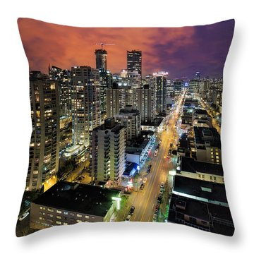 Nightlife On Robson Street Throw Pillow by David Gn