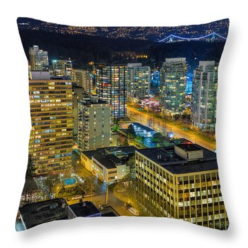 Nightlife On The Other End Of Robson Street Throw Pillow by David Gn