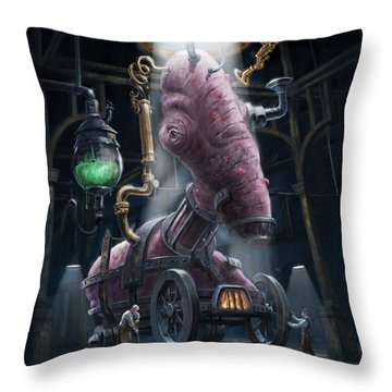 Nightmare Victorian Flesh Creature Horror Throw Pillow