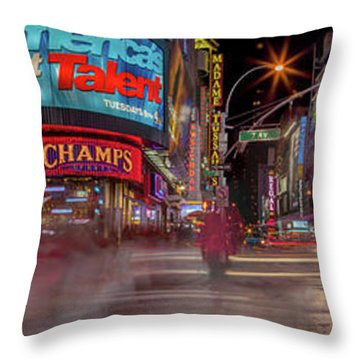 Nights On Broadway Throw Pillow by Az Jackson