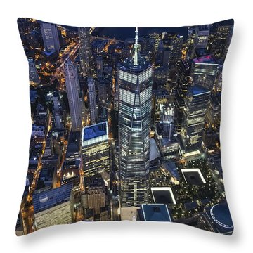 Throw Pillow featuring the photograph Nighttime Aerial View Of 1 Wtc by Roman Kurywczak