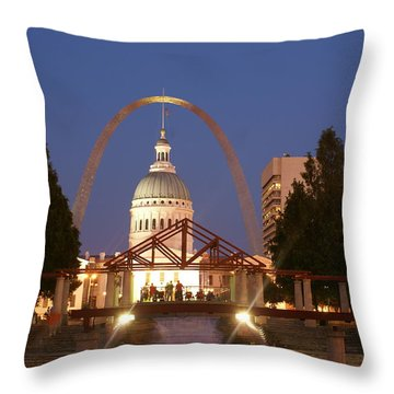 Nighttime At The Arch Throw Pillow by Marty Koch