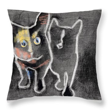 Nighttime Cats Throw Pillow by Julie Maas