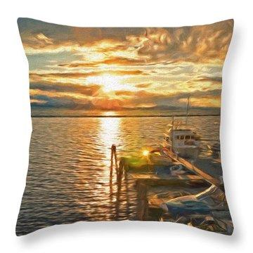 Nighttime Dockage Throw Pillow