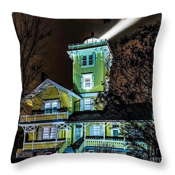 Throw Pillow featuring the photograph Nighttime Fog At Hereford Inlet by Nick Zelinsky