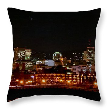Nighttime In Pdx Throw Pillow