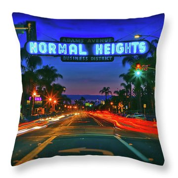 Nighttime Neon In Normal Heights, San Diego, California Throw Pillow
