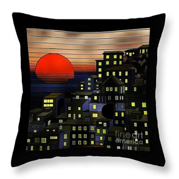 Nighttime Sunset Throw Pillow