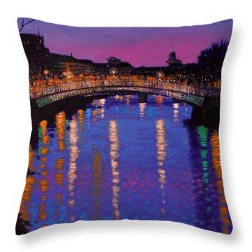 Nighttown Ha Penny Bridge Dublin Throw Pillow