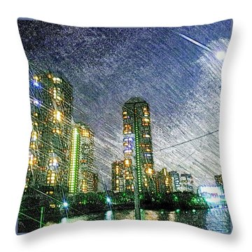 Tokyo River Throw Pillow by Daisuke Kondo