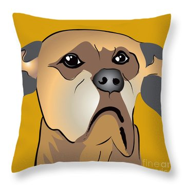 Niki Boxer Dog Portrait Throw Pillow