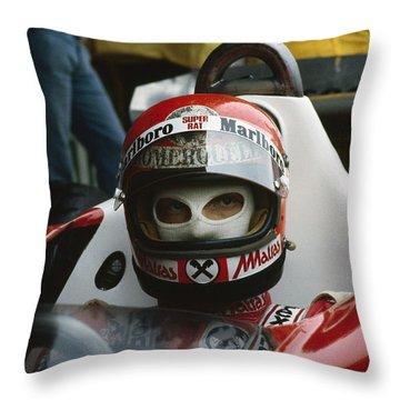 Niki Lauda. 1977 Austrian Grand Prix Throw Pillow
