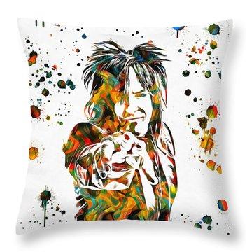 Nikki Sixx Paint Splatter Throw Pillow